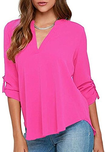 - OMZIN Womens Formal Half Sleeve Chiffon Tops T-Shirts Blouse for Women Rose S