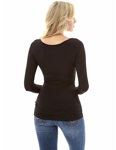 Noir longues blouse femmes taille empire manches lacet PattyBoutik wnW0qaxOw