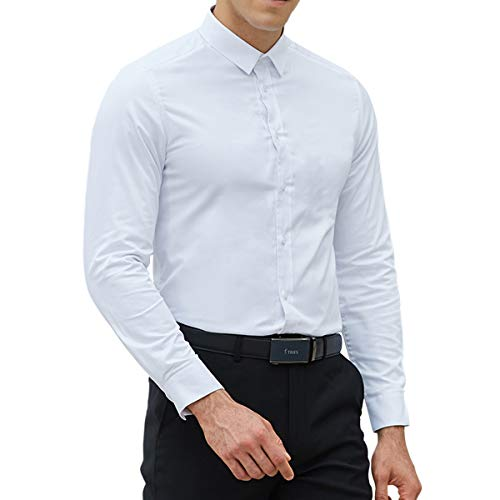 LOCALMODE 100% Cotton Easy Care Slim Fit Plain Dress Shirts for Men Button Down Long Sleeve Formal Business Shirts White Small