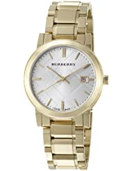 Burberry Mens BU9003 Large Check Goldtone Stainless Steel Bracelet Watch