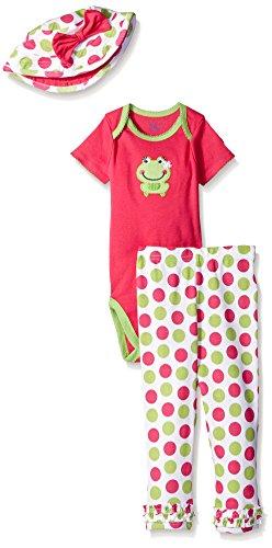 Gerber Baby Three-Piece Bodysuit, Bucket Hat, and Legging Set, Frog, 18 Months ()