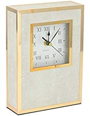 Shagreen Mantle Clocks for Fireplace,Faux Leather Mantel Clocks for Living Room Decor,Modern Decorative Clocks for Shelf,Gold Non-Ticking Executive Desk Clock, Tabletop Clock Battery Operated-Ivory