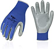 Vgo 10Pairs Nitrile Coating Gardening and Work Gloves (Blue, NT2110)
