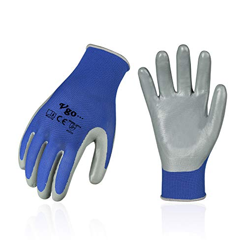 Vgo 10-Pairs Nitrile Coating Gardening and Work Gloves (Blue, NT2110)