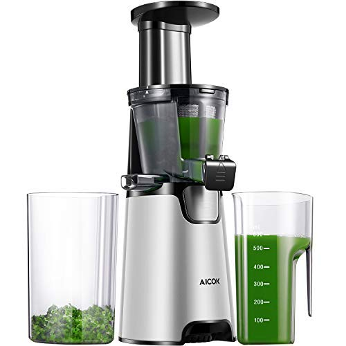 Aicok Juicer Auger Slow Masticating Juicer for Smooth and High Nutrition Juicer,Vertical Faster Masticating Juicer Includes - Making Juice,Jam and Sorbet,Quiet Juicer Extractor,Silver by AICOK