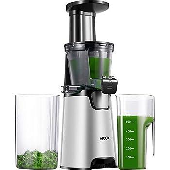 Aicok Juicer Auger Slow Masticating Juicer for Smooth and High Nutrition Juicer,Vertical Faster Masticating Juicer Includes - Making Juice,Jam and Sorbet ...