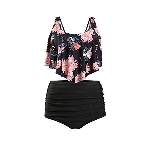 Lmanda 2019 New Sexy Print High Waist Bikini Europe and The United States Style Conservative Swimwear Bikini,Chrysanthemum - Black,XL