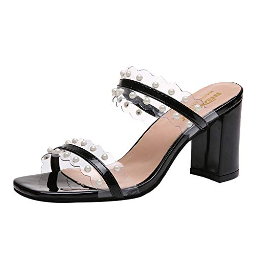 HHei_K Women Fashion Transparent Pearl Slippers Thick Heel Sandals Fish Mouth Sandals Summer High Heel Casual Sandals Black