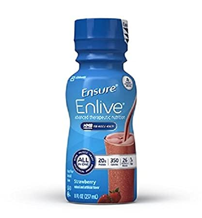 Ensure Enlive Nutritional Shake, Strawberry, 8 Ounce Bottle, Abbott 64281 - Case of 24