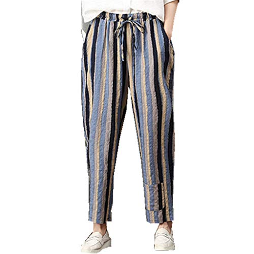 (VEZAD Casual Sports Cropped Pants Women's Summer Cotton Linen Trousers)