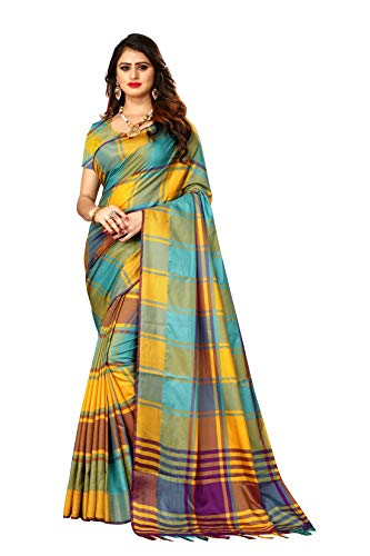 Indian Wedding Wear Sarees for Women Banarasi Checks Silk Woven Sari 9046 (Firozi) ()