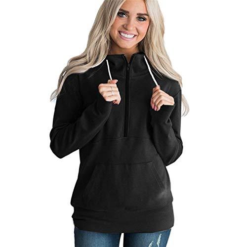 schwarz XL XYDSOFU Herbst Winter Hoodies Frauen Normallack beiläufige Reißverschluss-mit Kapuze Sweatshirt Frauen Oberseite