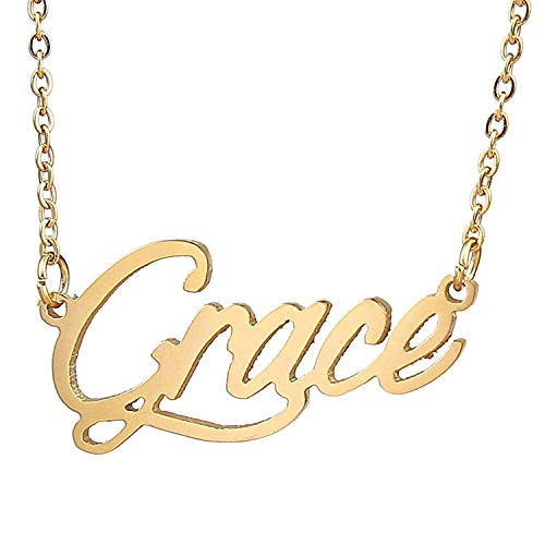 HUAN XUN Gold Color Plated Pendant Elegance Lady Name Necklace, Grace ()