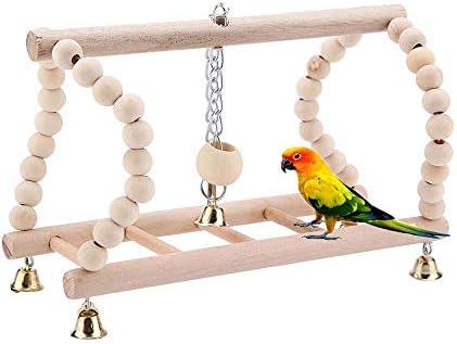 FXQIN Loro Escalera Pájaro Perca, Parque Infantil de escaleras de Madera, Puente Giratorio de Escalera de Loro, Juguete de Jaula Flexible para Entrenamiento de periquitos pequeños y medianos: Amazon.es: Productos para mascotas