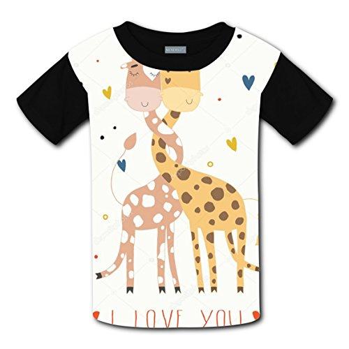 RODONO Unisex Kids I Love Giraffe 3D Printed Round Collar Short Sleeve T- Shirt by RODONO