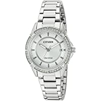 Drive From Citizen Eco-Drive Women's Crystal Accented Watch with Date, FE6060-51A