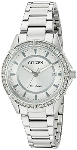 Drive From Citizen Eco-Drive Women's Crystal Accented Watch with Date, FE6060-51A Citizen Ladies Crystal