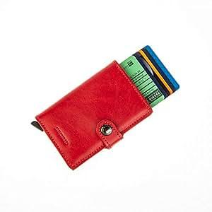 Secrid MINIwallet Original Red-Red Genuine Leather RFID Card Case Max 12 Cards