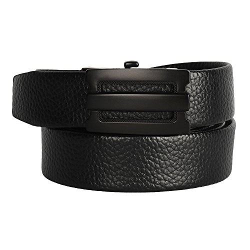Candor and Class Men's Genuine Split Hide Leather Ratchet Belt with Automatic Adjustable Buckle, Elegant Gift Box (A02Z (Leather Slip Belt)