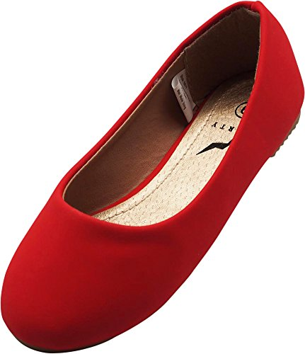 Nubuck Ballet Flat, Red 40071-9MUSToddler (Toddler Red Nubuck Kids Shoes)