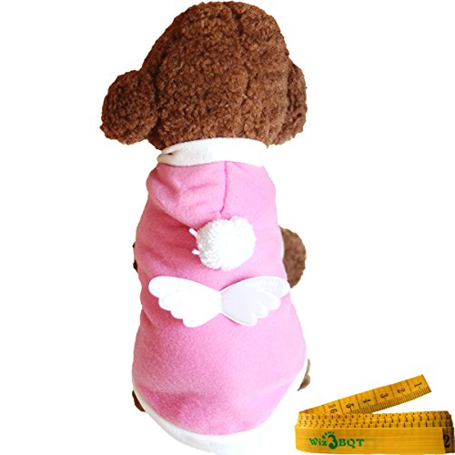 Pink Dog Cat Pet Halloween Party Costume with White Angel Wing for Dogs Cats Pets (C)