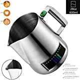Milk Frothing Pitcher, Stainless Steel Creamer Frothing Pitcher With Integrated Thermometer 20 oz (600 ml), Satin