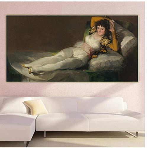 Francisco Goya 《Maja》 lienzo arte pintura al oleo mundialmente famosa obra de arte cartel imagen pared decoracion de fondo decoracion -60x120cm sin marco