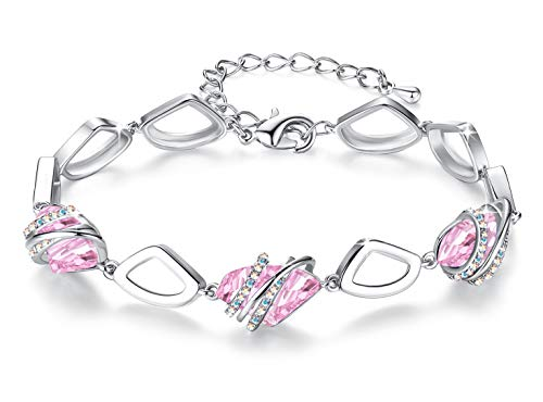 - Leafael [Presented by Miss New York] Wish Stone Made with Swarovski Crystals Focal Shape Silver Tone Light Pink Bracelet, 7