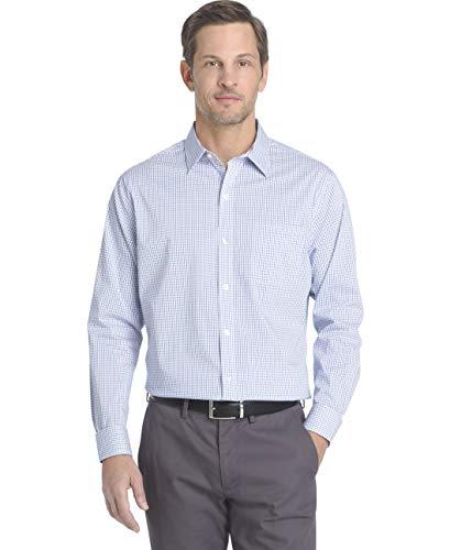 Van Heusen Men's Long Sleeve Traveler Stretch Non Iron Shirt, Blue Crisp Check, Large