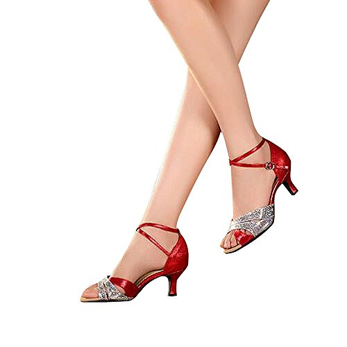 Women's Latin dance shoes with soft sole female Latin sandals Ballroom Dance Shoes (10 B(M) US, red)