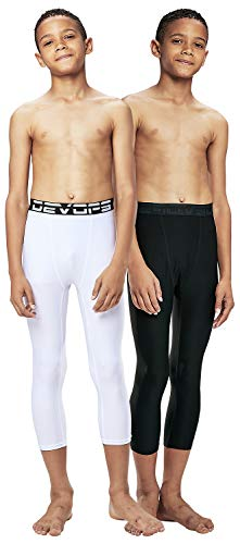 DEVOPS Boys 3/4 (2 Packs) Compression Cool Dry Tights Baselayer Running Active Leggings Pants (Large, Black-White)