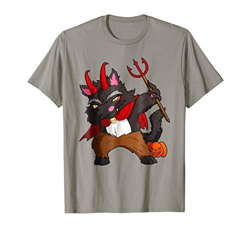 Dabbing Black Cat In Devil Costume Halloween Dab T-Shirt]()