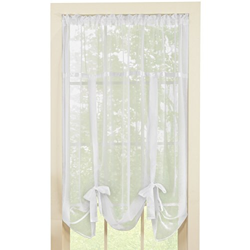 Sheer Tie Up Shade Curtain, White