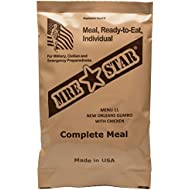 Fresh Packaged MRE Meals Ready to Eat Meal kits. Military Style Meals. Includes Delicious Entrees, Accessory Pack, Side Dishes, Beverage Mix (Choose your meals) (1, Meal 11 - New Orleans Gumbo)