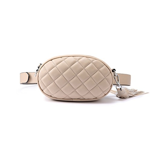 Bum Bag Waist Bag Fanny Pack for Women with Tassel Beige