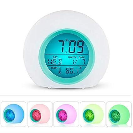 WDDqzf Reloj Despertador de Mesa Digital de 7 Colores Reloj ...