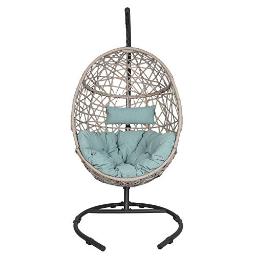 Ulax furniture Outdoor Patio Wicker Hanging Basket Swing Chair Tear Drop Egg Chair with Cushion and...