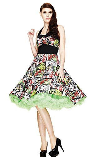 Hell Bunny Women's Horror B-Movie Rockabilly 50's Dress S/US 6 Multicoloured]()