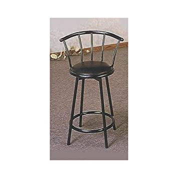 Set Of 2 24 h Bar Stool In Satin Black Finish Metal With Swivel Seat And Back
