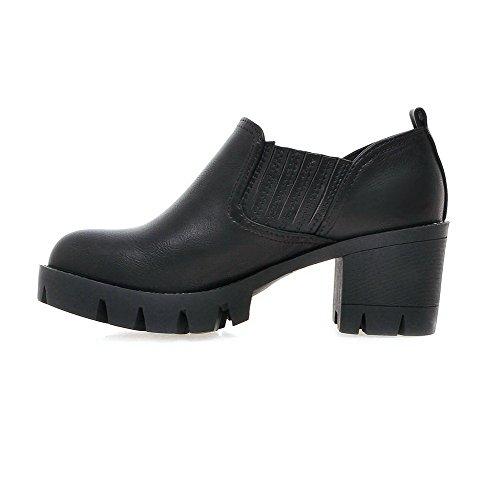 Closed PU Black Pull Heels Round On Shoes Womens Toe AllhqFashion Pumps Kitten Solid xXHOAXn