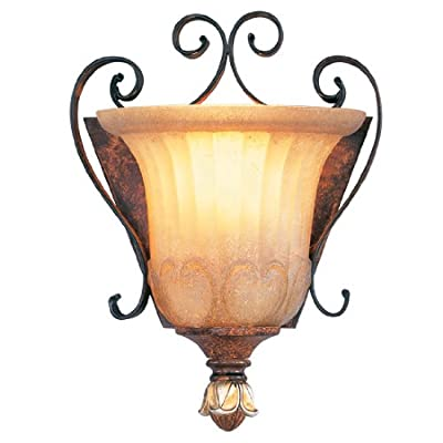Livex Lighting 8560-63 Villa Verona 1 Light Verona Bronze Finish ADA Wall Sconce with Aged Gold Leaf Accents and Rustic Art Glass