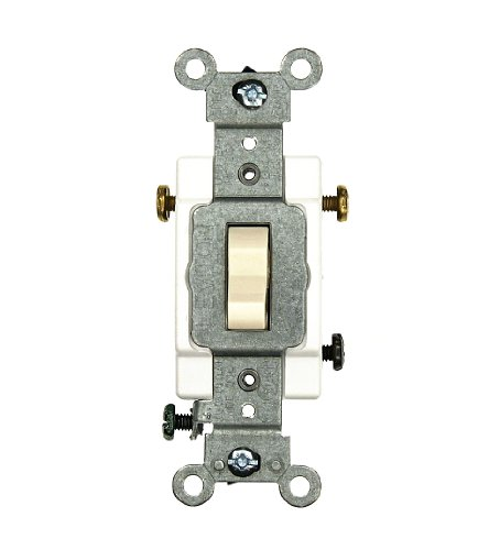 Amp, 120/277 Volt, Toggle 3-Way AC Quiet Switch, Commercial Grade, Grounding, Light Almond ()