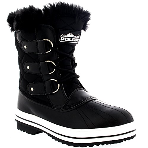 Polar Products Womens Snow Boot Quilted Short Winter Snow Rain Warm Waterproof Boots Black