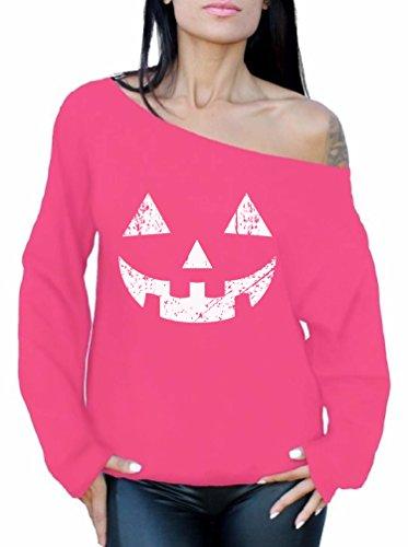 (Awkward Styles Women's Jack O' Halloween Pumpkin Off The Shoulder Tops for Women Sweatshirts Halloween Easy Costume Idea Pink)