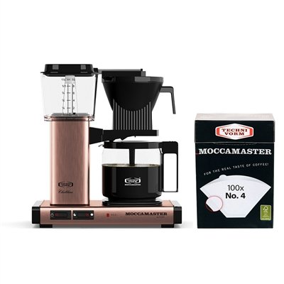 Technivorm Moccamaster KBG 741 Coffee Brewer 10-Cup with Glass Carafe with number 4 Filter (Copper) by Technivorm