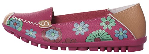 IF FEEL Women's Flats Leather Driving Loafer Shoes Rose Red-0