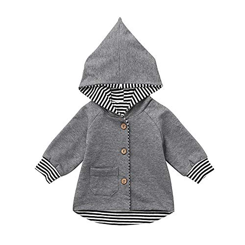 SMALLE ◕‿◕ Baby Clothes Toddler Newborn Boys Striped Hoodie Infant Pocket Pullover Sweatshirt Tops -