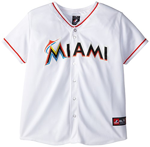 MLB Miami Marlins Home Replica Baseball Women's Jersey, White, X-Large