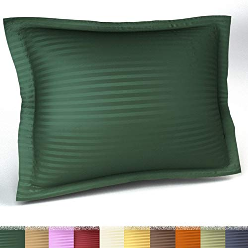 Harmony Lane Sateen Stripe Tailored Pillow Sham, Standard Size, Hunter