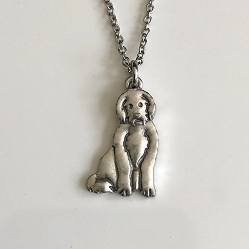 - Labradoodle Necklace on Stainless Steel Chain - Golden Doodle Dog Breed Jewelry - Dog Mom Gift